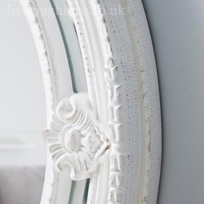 Vintage oval mirror antique white